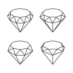 Line Style Diamond Crystal Set on White Background. Vector