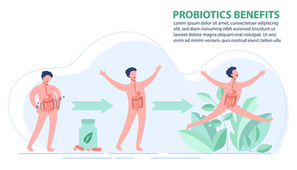 Probiotics benefits. Scheme of influence of probiotics on a human body.