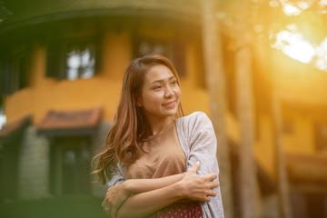Attractive woman in sunlight