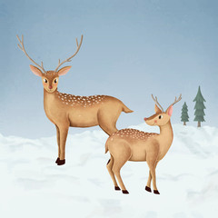 Wall Mural - Hand-drawn two cute fallow deer