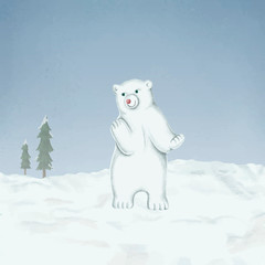Fototapete - Hand-drawn baby white polar bear on a snow-covered ground