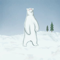 Fototapete - Hand-drawn standing white polar bear on a snow-covered ground