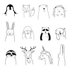 Hand drawn animals enjoying a Christmas holiday