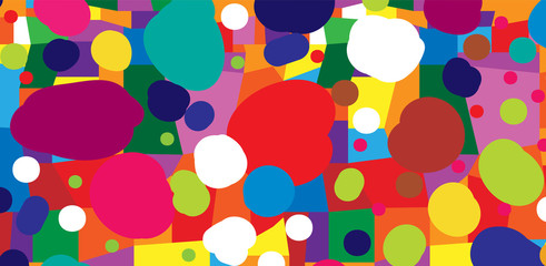 Abstract colored background from blots and geometric shapes
