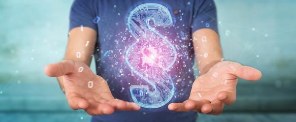 Businessman using 3D rendering digital paragraph law symbol