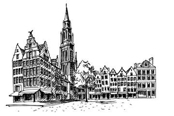Tuinposter Antwerpen Grote Markt square in Antwerpen, Belgium.