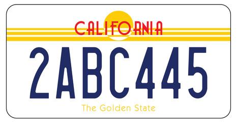 Plaque d'Immatriculation en Californie aux états Unis d'Amérique