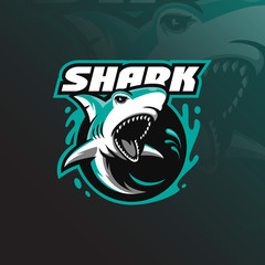 angry shark mascot logo design vector with modern illustration concept style for badge, emblem and tshirt printing. angry shark illustration with water around it.