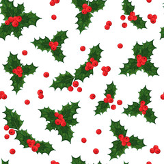 Pattern of vector colorful illustrations on the Christmas Traditions theme: festive Norway holly - red mistletoe. Realistic isolated objects for your design.