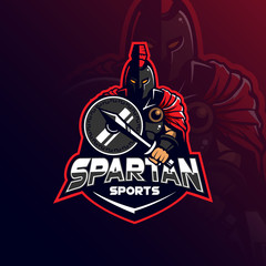 spartan mascot logo design vector with modern illustration concept style for badge, emblem and tshirt printing. spartan illustration with shield and sword.