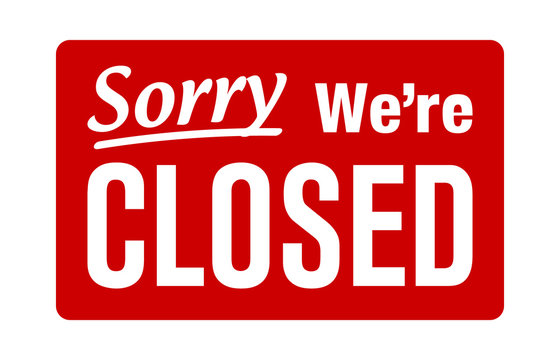 Sorry, we're closed retail or store sign flat red vector for websites and print