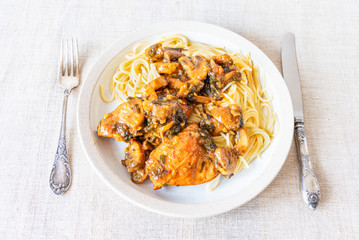 Italian cuisine - Marsala chicken with mushrooms and spaghetti on a plate, close-up, rustic style, top view