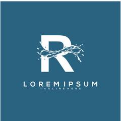 Abstract Initial R logo design concept, water logo vector design