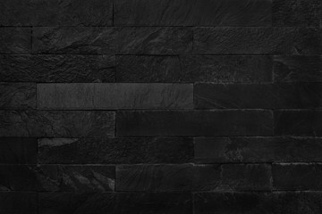 Black brick wall texture background. Pattern of slate stone for design art work.