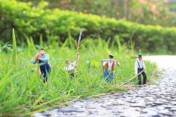 a Toy farming of figure people on the farm