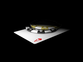 ace card with chips on black background 3d Illustration