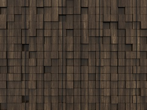 Dark wood abstract background with cubes