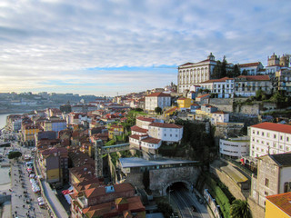 Porto, Portugal old town on the Douro River. Oporto panorama view.