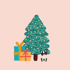 Vector of a decorated Christmas tree and with a Boston Terrier breed dog next to it with gifts.