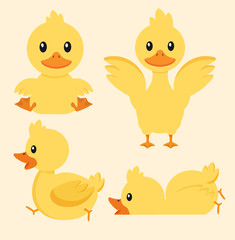 Cute yellow duck character set
