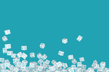 Many crumbling cubes with icons from social networks on the sides  3d illustration