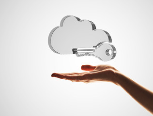 Cloud computing concept with glass symbol shown in hand