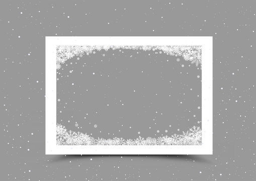 a4 paper frame with snow in corner