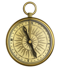 Vintage compass isolated 3d illustration