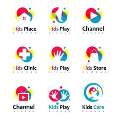 Colorful Kids Logo Set