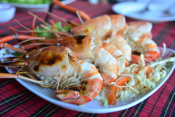 Grilled River Prawns on the plate, Thai food style