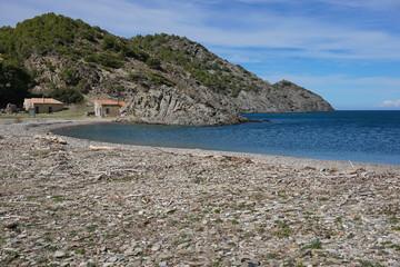 Secluded cove with fishermen refuge in the Cap de Creus natural park, Cala Tavallera, Spain, Costa Brava, Mediterranean sea, El Port de la Selva, Catalonia