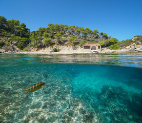 Spain Mediterranean coast with a fisherman hut and fish with rock underwater sea, split view half above and below water surface, Cala Cap de Planes, Palamos, Costa Brava