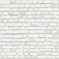 Seamless photorealistic vector illustration of white old brick wall. Hand drawn, no tracing.