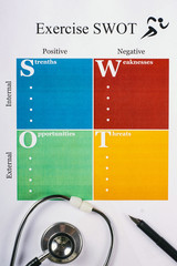 Exercise SWOT form sheet, stethoscope and pen on light background. Flat lay