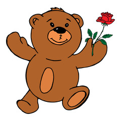 Teddy bear holding a rose. Vector illustration of a teddy bear with a red rose. Hand drawn teddy bear holding a red rose greeting card.