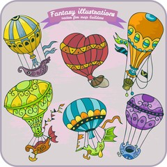 Fantasy illustration of Hot Air Balloon for map building in hand draw vector format, colorful