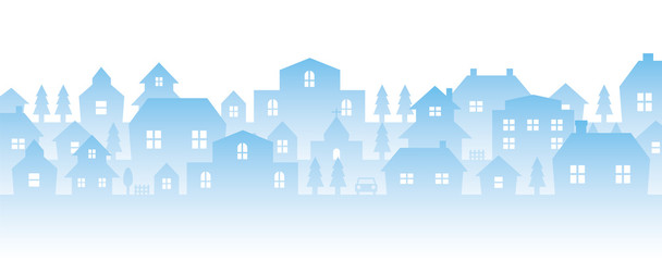 city landscape silhouette illustration (blue)