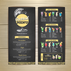 Chalk drawing cocktail menu design. Corporate identity