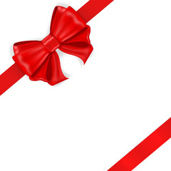 Red ribbon bow. Diagonal wrapped gift