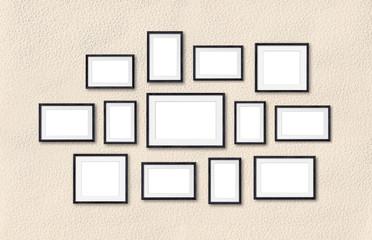 Black wooden frames collage mock up, thirteen frameworks collection