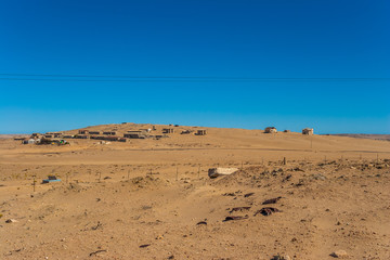 Kolmanskuppe, also known as Kolmanskop, a diamond mining ghost town on the Skeleton Coast of Namibia.