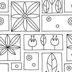 Seamless vector black and white decorative hand drawn pattern with geometrical motifs, flowers. Graphic vintage design. Print for wrapping, wallpaper, surface, packaging.