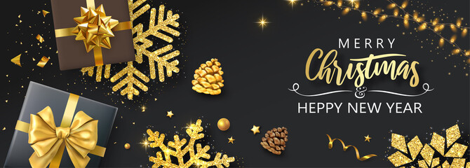 Merry Christmas and Happy New Year banner with top view gifts and golden snowflakes.