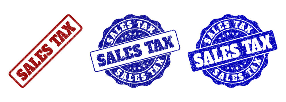 SALES TAX scratched stamp seals in red and blue colors. Vector SALES TAX overlays with grainy effect. Graphic elements are rounded rectangles, rosettes, circles and text captions.