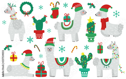 Llama Christmas Decorations.Cute Christmas Llama Alpaca With Santa Claus Hat And Holiday