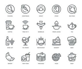 Restaurant Icons, Monoline concept
