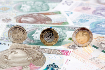 Polish Zloty coins on the background of Polish banknotes