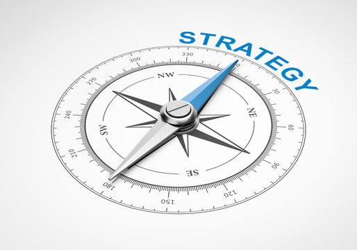 Compass on White Background, Strategy Concept