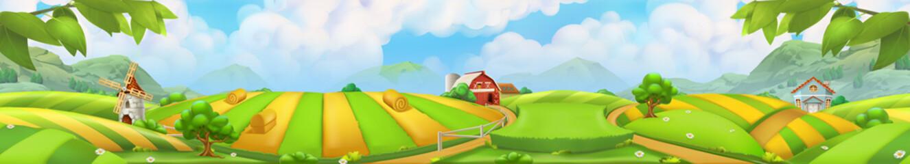 Farm, panorama landscape vector background