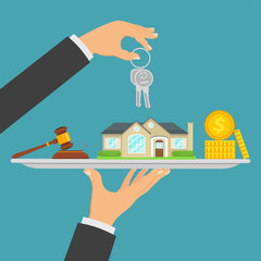 Concept of real estate trading, buying a house, selling real estate. Purchase of real estate, bidding for house, coins, keys, gavel. Vector illustration.